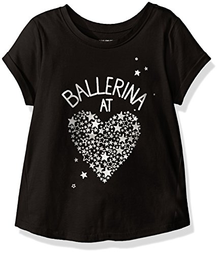 The Children's Place Baby Girls' Cuff Graphic Top, Black, 12-18 Months