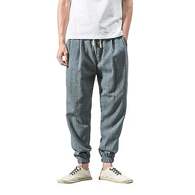 Casuales Pantalones para Hombre Cómoda Cintura Elástica Cintura Elástica Cómodos Loose Fit Pantalones Largos Hombre Pantalones Harem Holgados pantalón ...