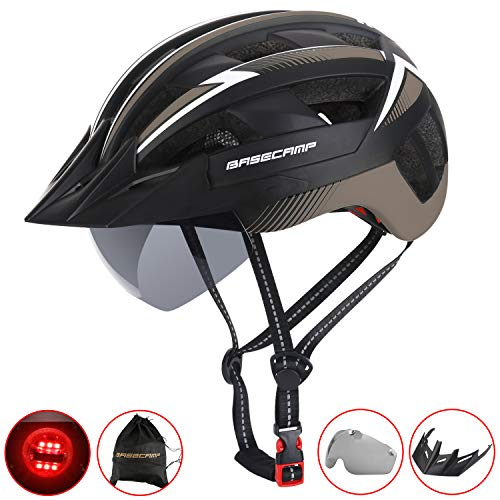 Basecamp Bike Helmet, Bicycle Helmet CPSC Safety Standard&CE Certified Cycling Helmet/Climbing Helmet/BMX Helmet with LED Light&Magnetic Goggles&Removable Visor&Portable Backpack for Adult Men/Women