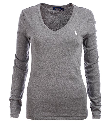 Polo Ralph Lauren Womens Perfect V Neck T-Shirt (Medium, Gray - Lauren Girls For Ralph Polo