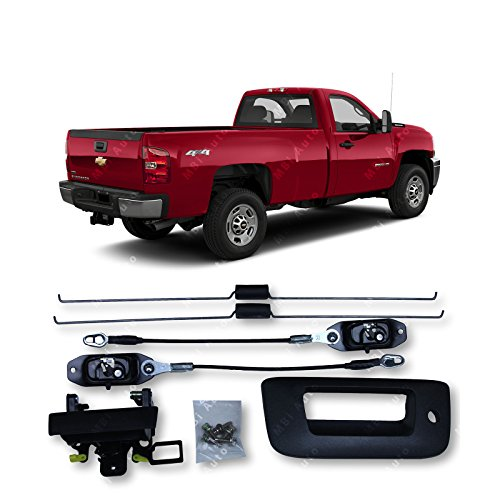 MBI AUTO - Textured, Tailgate Hardware Repair Kit/Set With Lock Bezel for 2007-2013 Chevy Silverado/GMC Sierra Pickup, GM1900125HW