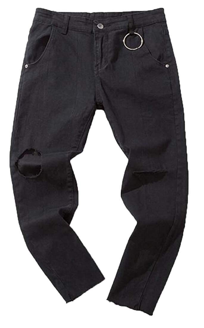 Fensajomon Mens Hip Hop Ripped Distressed Ankle Trendy Regular Fit Mid Waisted Jeans Denim Pants