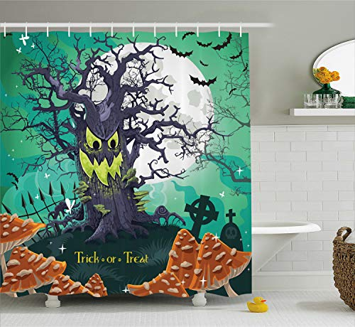 Ambesonne Halloween Shower Curtain, Trick or Treat Halloween Theme Dead Forest with Spooky Tree Graves Big Mushrooms Kids Cartoon, Fabric Bathroom Shower Curtain Set with Hooks, Multi]()