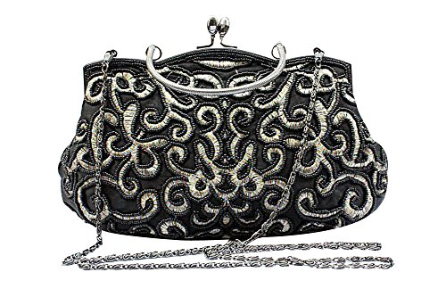 Beaded Satchel (ILISHOP Women's Elegant Vintage Party Clutch Hand Embroidered Seed Beaded Evening Baguette Handbag (Black))