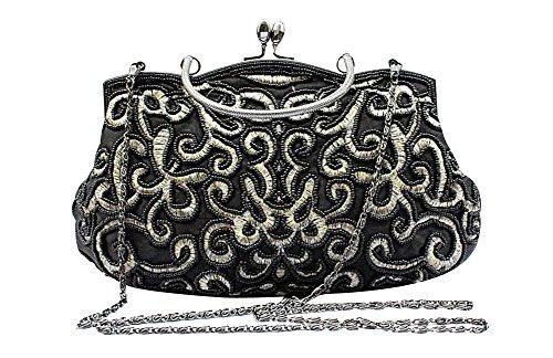 ant Vintage Party Clutch Hand Embroidered Seed Beaded Evening Baguette Handbag (Black) (Black Stitched Handbag)