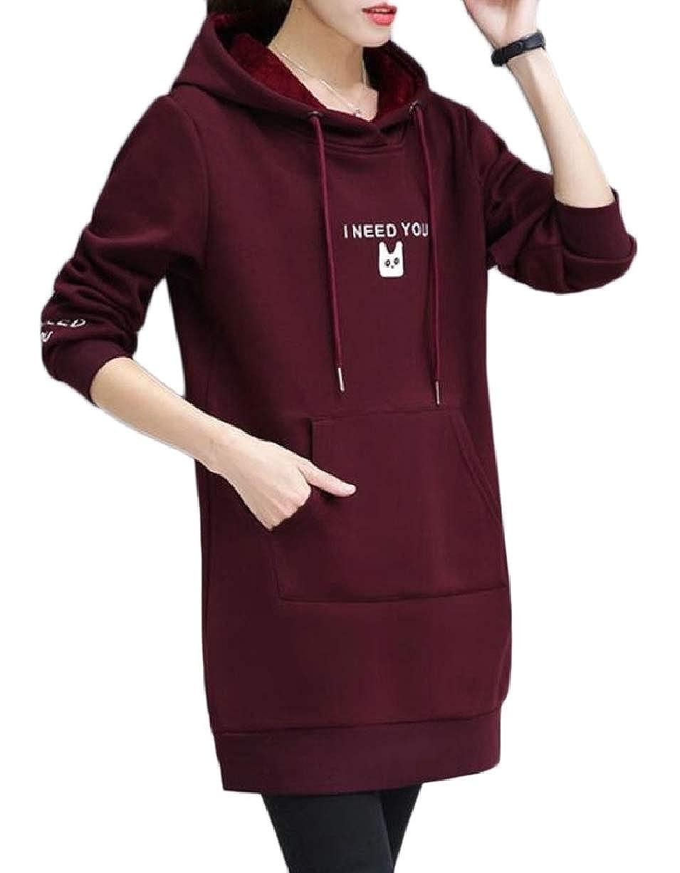 YIhujiuben Women Tops Fleece Hoodie Mid Long Pullover Sweatshirts with Drawstring