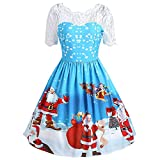 WOCACHI Final Clear Out Christmas Dresses Womens Lace Neck Swing Dress Santa Claus Party Dress A Line Bodycon Vintage Xmas Long Sleeves Evening Prom Costume Maxi Mini (Sky Blue, Small)