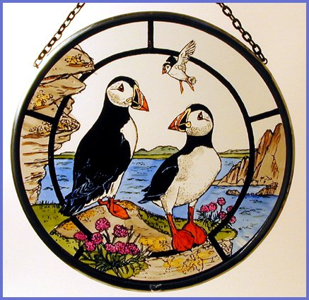 Decorative Hand Painted Stained Glass Window Sun Catcher/Roundel in a Puffins Design. ()