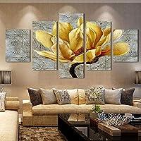 JFSJDF Marco Impreso HD Impreso Imágenes Cartel Lienzo Arte de la Pared Imágenes HD 5 Panel Flor Amarilla para la Sala de Estar Decoración del Hogar Pintura