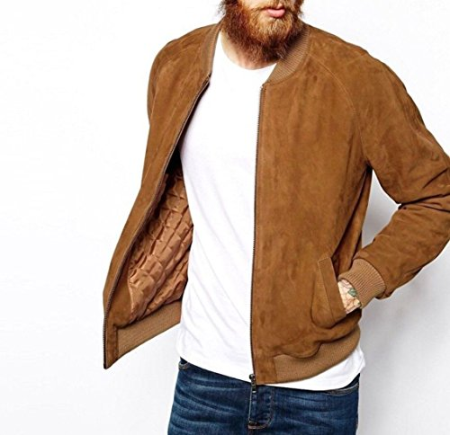 Jacket Suede Bomber - World Of Leather Lambskin Suede Leather Jacket Bomber Biker Slim Fit Stylish (XL44, Brown)