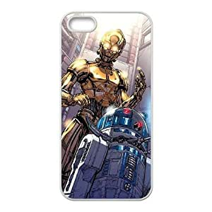 JiHuaiGu (TM) iPhone 4 4s funda Blanca Star Wars C3 P0 y R2 D2 Tema personalizado iPhone 4 4s funda LD9564