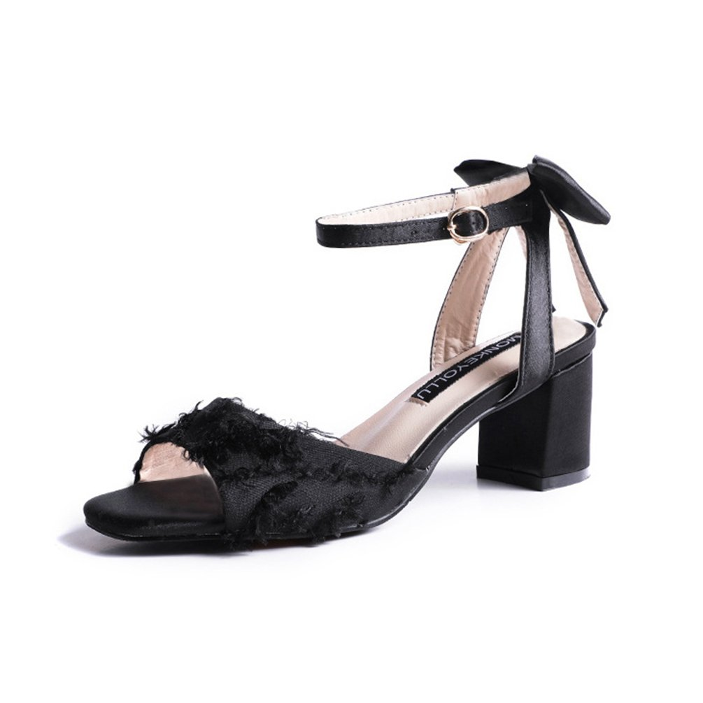 Femmes Sandales Toiles à Talons Hauts 19034 Chaussures Toiles Noir Nœud Élégant Talon Carré Bout Ouvert Sandale Noir fda6f6a - boatplans.space