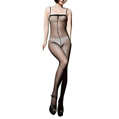 8f789ffeac36d ElsaYX Women's Sexy See Through Strap Body Stockings: Amazon.co.uk: Clothing