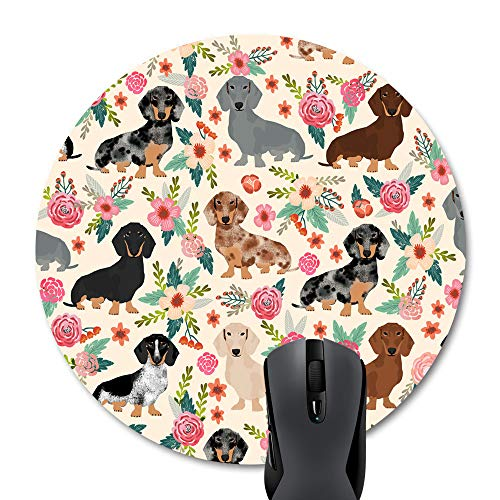 Wknoon Round Mouse Pad Cute Colorful Floral Daschund Seamless Dog Flowers Design Print ()