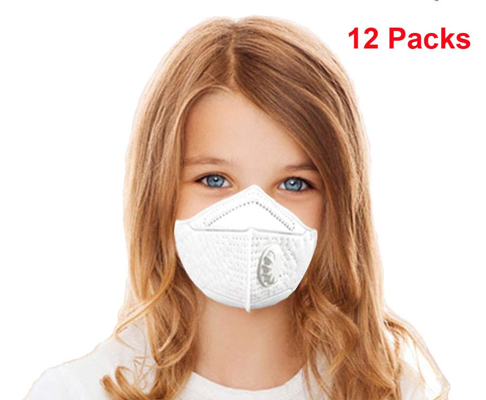 Kids Disposable Face Mask N95 Particulate Respirator Masks with Valve Child PM2.5 dust masks - NIOSH Certified - Anti-Pollution Dustproof Cycling for Outdoor Safety Multi-Layer Protection (12 Packs)