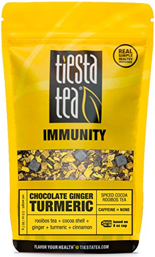 Tiesta Tea Immunity, Chocolate Ginger Turmeric, Spiced Cocoa Rooibos Tea, Loose Leaf Tea Blend, Caffeine Free, 2 Ounce Pouch