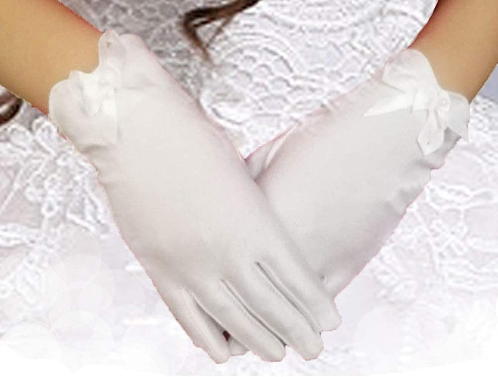 kids Special Occasion Gloves Kids Costume Gloves Girl White Dress Up Bows Gloves for Birthday Party  Wedding Pageant Special Occasion