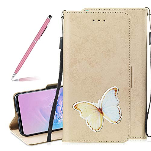 Bumper Coverlet - SKYXD Leather Wallet Flip Case for Samsung Galaxy S10, Premium Gold Vintage Built-in Card Slots Holder Protective Cover for Galaxy S10, Embedded Design Stand Wrist Strap Magnetic Clasp Case,Butterfly