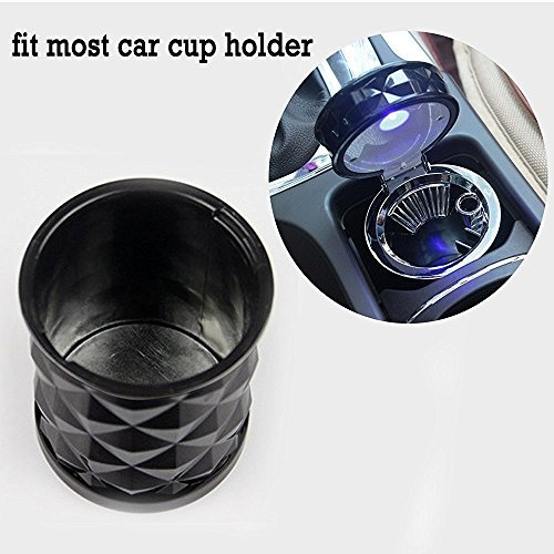 Big Ant Ash-black Car Cigarette Ashtray Portable Auto Vehicle With Blue LED Light Car Cup Holder 1PC