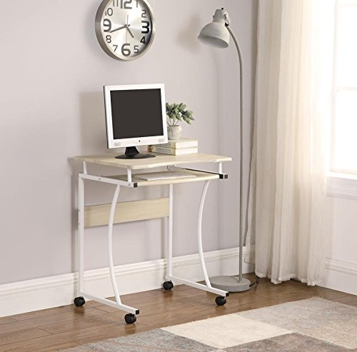 Computer Desk, stylish computer desk with keyboard tray (Natural) by Home Good Trends
