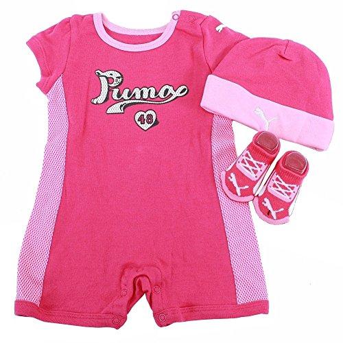 PUMA Baby Girls Romper Hat Socks Set, Pink Glow, 3/6M