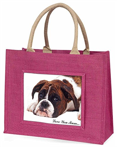 Advanta Boxer, Hund mit Welpe Love You Mum Große Einkaufstasche/Weihnachtsgeschenk, Jute, pink, 42x 34,5x 2cm