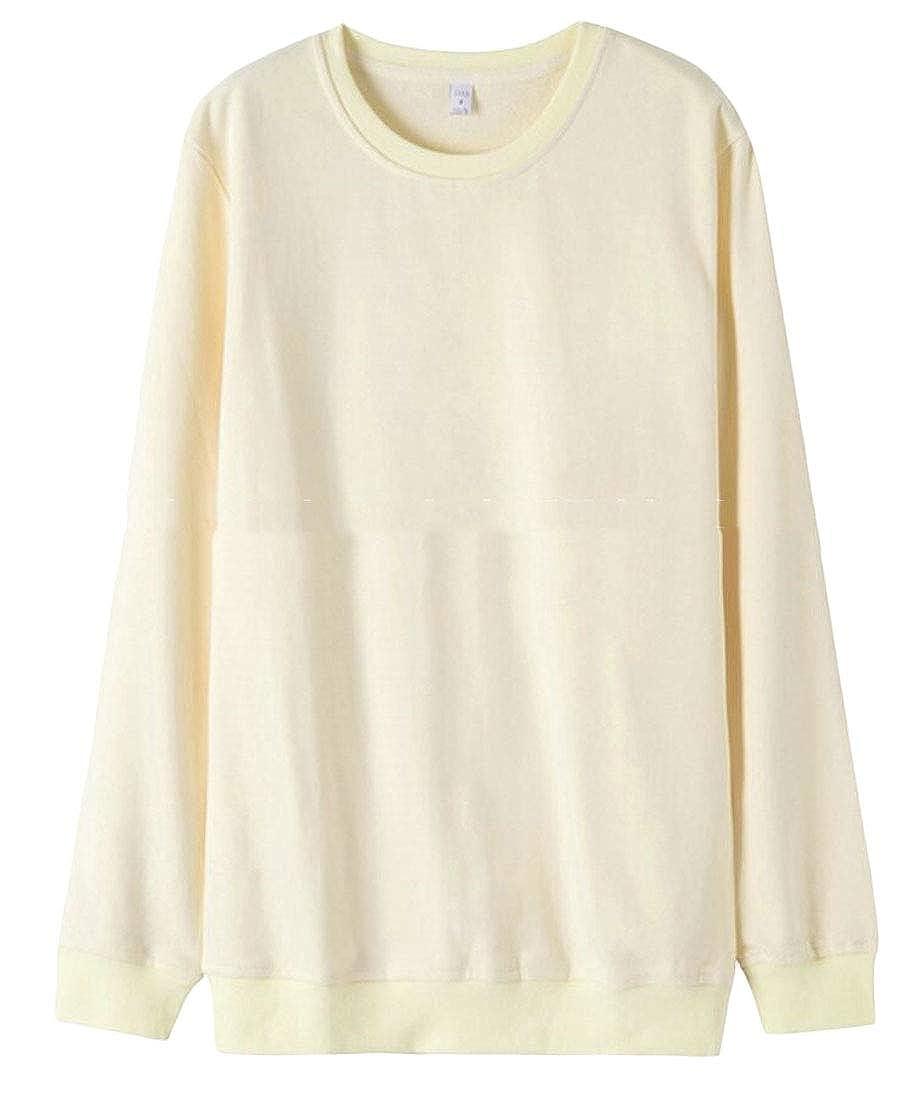 UNINUKOO Unko Mens Long Sleeve Solid Soft Crewneck Pullover Sweatshirt