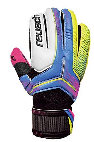 Reusch Soccer Receptor Prime S1 Finger Support Goalkeeper Glove, Size 9, Pink palm