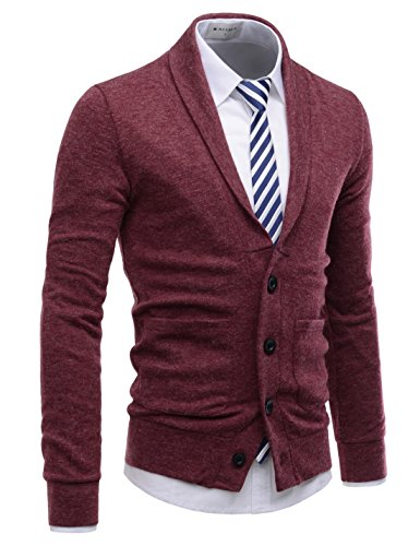 NEARKIN (NKNKCD132) Beloved Mens Knitwear Casual Shawl Collar Cardigan Sweaters Wine US XXXL(Tag Size 3XL)