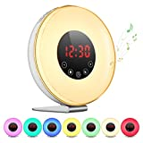 PICTEK Alarm Clock [2018 Upgraded], Wake Up Digital Alarm Clock Sunrise Alarm Clock with FM Radio Clock, Touch Control Time Clock with 7 Color Night Light/6 Natural Sounds/10 Brightness Levels for Kids Adults Heavy Sleepers