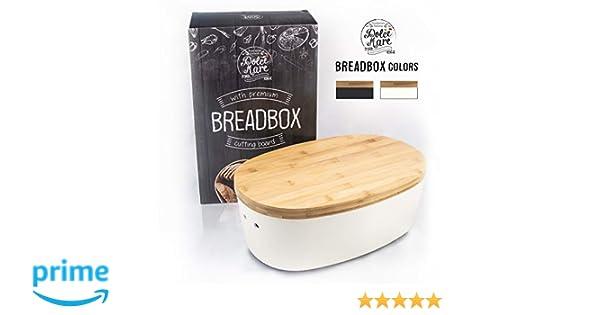 Paneras para guardar el pan Caja para pan de madera Cesto para pan Blanco DOLCE MARE/® Panera Regalo ideal Con tabla de bamb/ú extremadamente pr/áctica para cortar