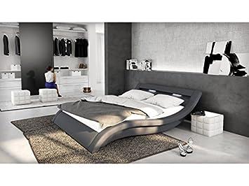 Salesfever Polster Bett 180x200 Cm Grau Aus Stoff Mit Led