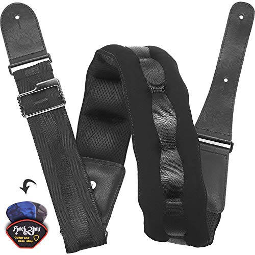 Padded Guitar Strap 2.8 Inches Wide Breathable Electric Guitar Strap Bass Guitar Strap with Pad, Includes Guitar Picks,Color Black (Padded Guitar Strap)