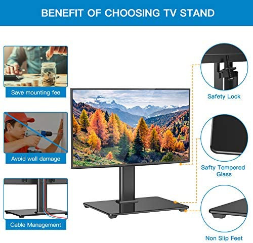 PERLESMITH Universal Table Top TV Stand for 32-55 Inch LCD LED OLED TV Height Adjustable TV Mount Stand with Tempered Glass Base & Cable Management, Holds 40kgs, VESA 400x400mm