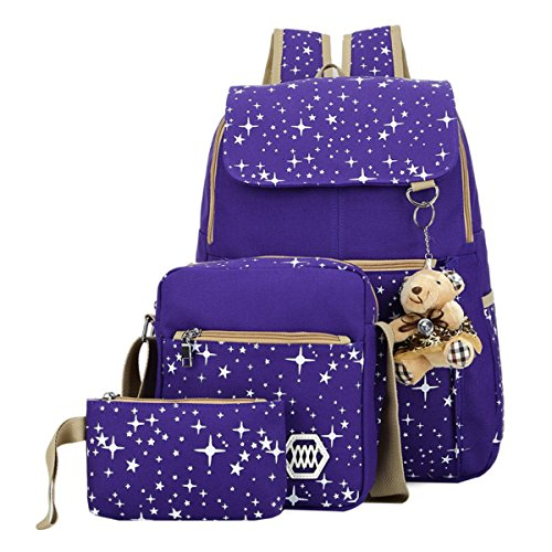 Canvas Backpack Pieces Patterned Bookbag