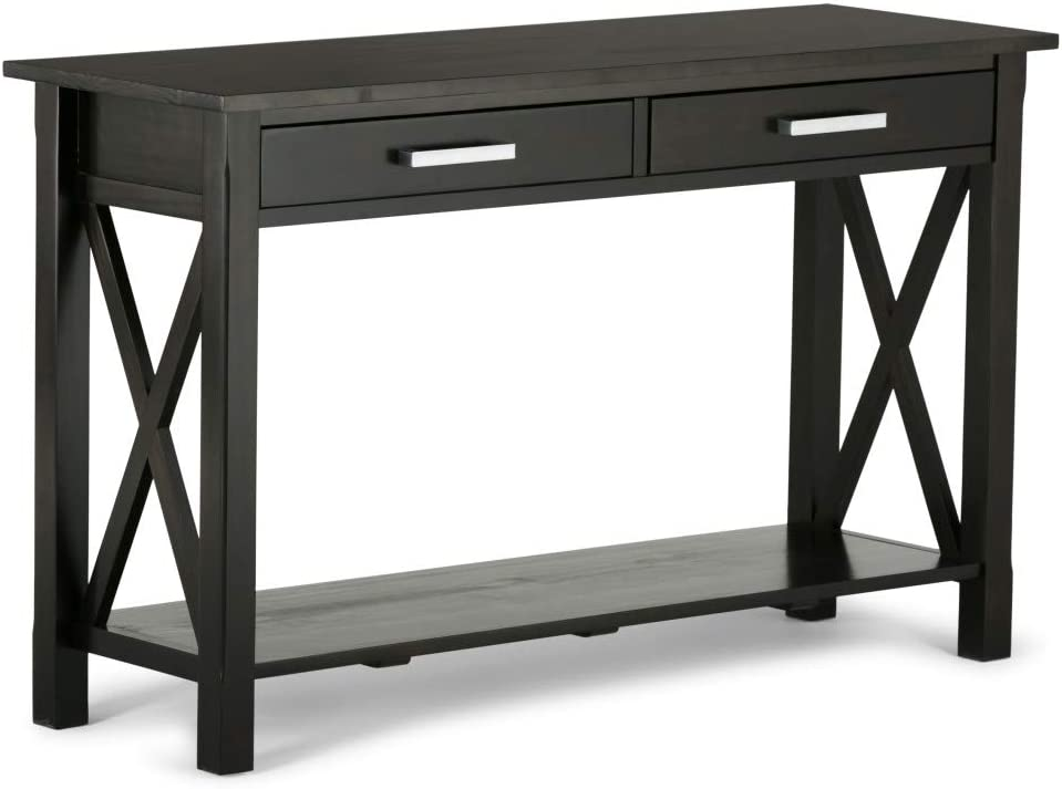 SIMPLIHOME Kitchener SOLID WOOD 47 inch Wide Contemporary Modern Console Sofa Entryway Table in Hickory Brown with Storage, 2 Drawers and 1 Shelf, for the Living Room, Entryway and Bedroom