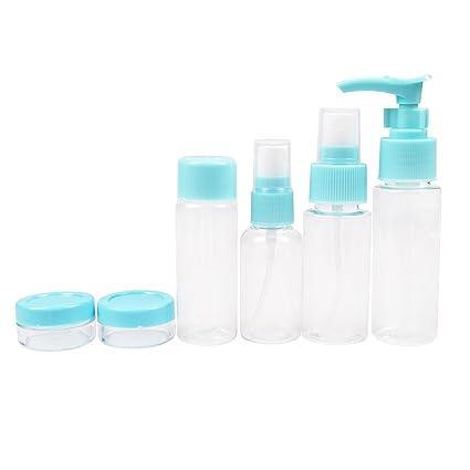 Juego de 7 botellas vacías de plástico Yapeach reutilizables para viaje, con bolsa, contenedor