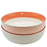 Nicola Spring Large Patterned Fruit/Salad Bowl - 1x Light Blue & 1x Coral/Orange Geometric Design - 284mm - Box of 2