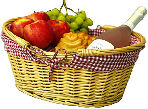Baskets With Handles (Wicker Picnic Baskets | Little Red Riding Hood Basket for Kids | Hand Woven Wicker Great for Easter Basket | Storage of Plastic Easter Eggs Candy Gift Wedding)