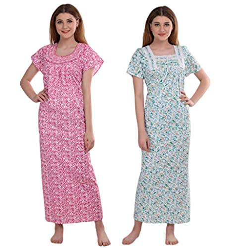 CIERGE Women's Smoking and Lace Printed Maxi Nighty Nightwear Gown (Multicolour, Free Size) – Pack of 2