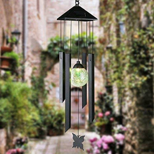 Musical Wind Chime Outdoor Home Decoration and Terrace Lawn Great for Patio Sorbus Wind Chimes Solar Powered Color Changing LED Glass Ball Garden
