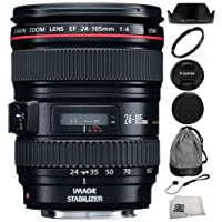 Canon EF 24-105mm f/4 L IS USM Lens (White Box) + SSE Lens Accessory Kit For Canon 6D 5D Mark II 5D Mark III SL1 T5i T5 T4i T3i T3 60D 70D T2i T1i Xsi XS DSLR Cameras