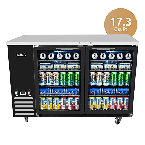 - KITMA 59'' 2 Door Back Bar Cooler - Stainless Steel 17.3 Cu.Ft Counter Height Beverage Refrigerator with LED Lighting, 33°F - 38°F