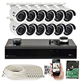 GW 16 Channel H.265 PoE NVR Ultra-HD 4K (3840×2160) Security Camera System with 12 x 4K (8MP) 2160p IP Camera, 100ft Night Vision, Outdoor Indoor Surveillance Camera For Sale