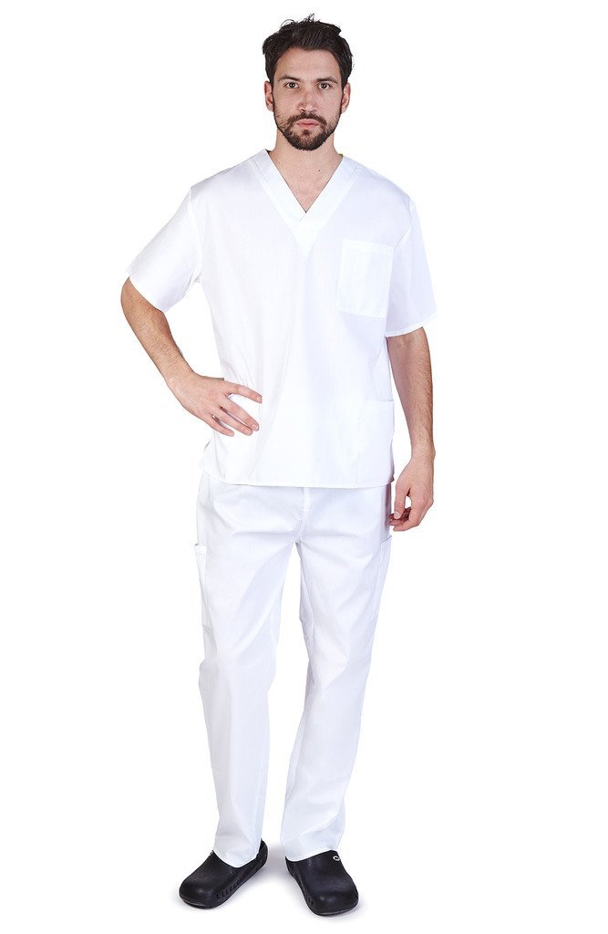 NATURAL UNIFORMS Men's Scrub Set Medical Scrub Top and Pants XL White
