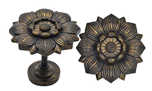 Urbanest Large Bloom Medallion Drapery Holdback, Set of 2, Burnt - Holdbacks Drapery Medallion