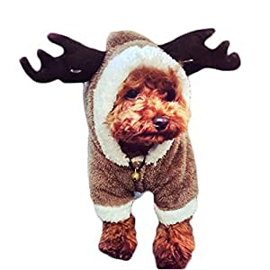 MIXMAX Pet Puppy Dog Christmas Clothes Reindeer Costume Jumpsuit Coat Hoodie Doggy Christmas Gift (Dark brown reindeer, Small)