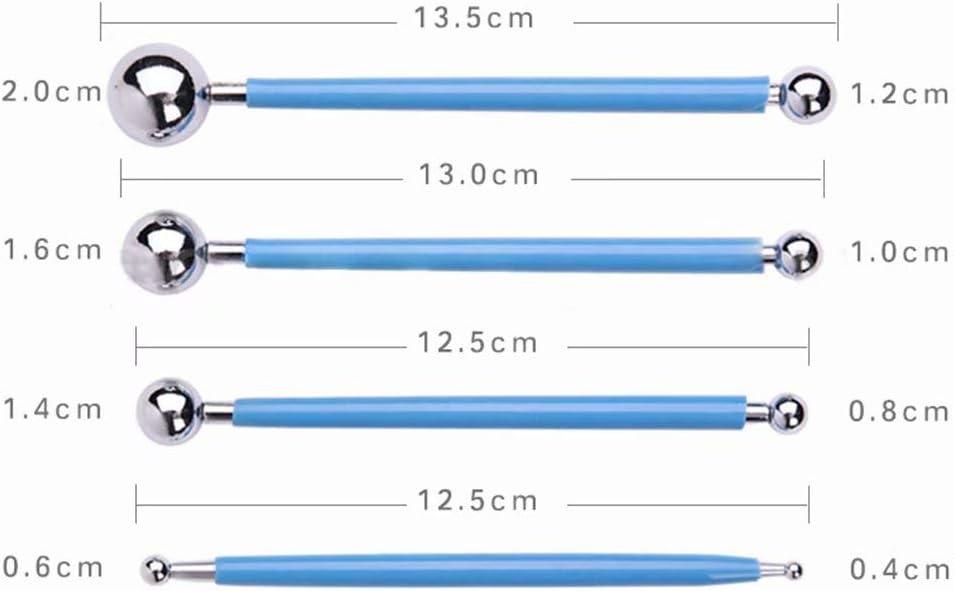LINSUNG Herramientas de soldadura por puntos de aguja de bola de acero inoxidable Herramientas de arcilla polim/érica Arte 4 piezas Gofrado Manualidades Para Arcilla Pintura de roca blue