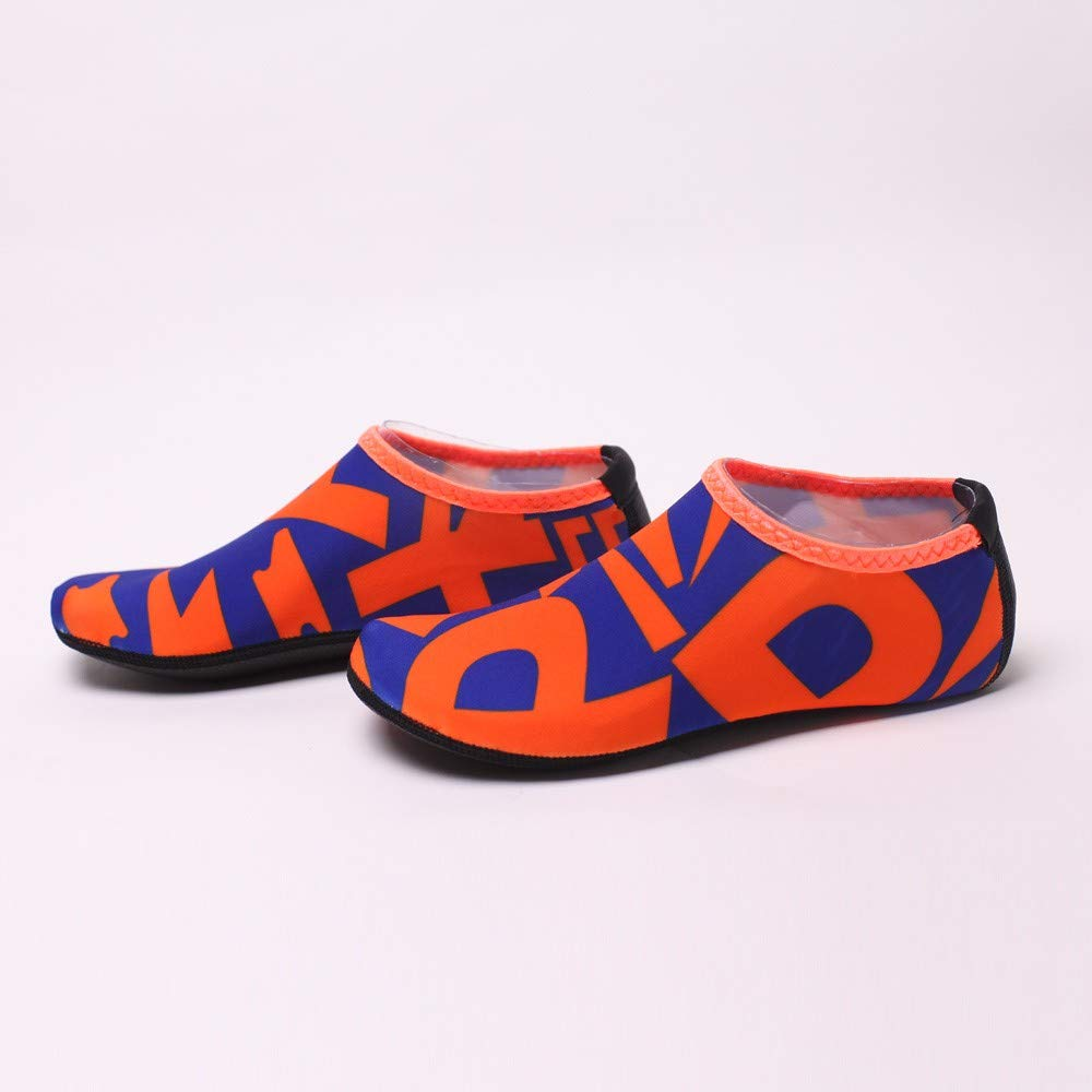 NUWFOR Beach Shoes Water Sports Unisex Water Shoes Barefoot Yoga Socks Diving Barefoot (Orange, 4-4.5 M US Length:8.25'') by NUWFOR (Image #3)