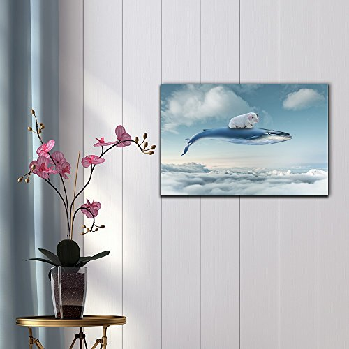 Funny Flying Animals A Little Pig Flying with a Whale Above The Clouds Nursery Wall Kids' Room Decor